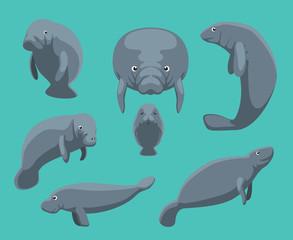 Manatee Seven Poses Set Vector Illustration