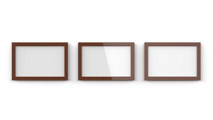 木製額縁 濃い色 横置き 3枚
