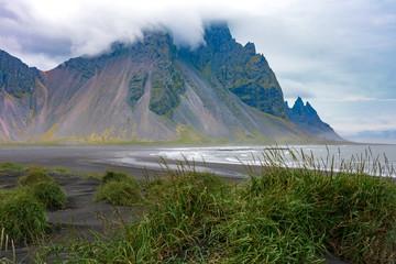 Stokksnes lagoon and black sand beach, southeast Iceland