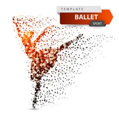 Ballet, dance, girl - dot illustration Vector eps 10