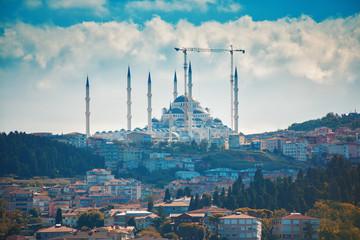 Istanbul Camlica Mosque or Camlica Tepesi Camii under construction