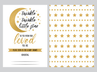 Baby shower invitation template, backgtround with gold golden stars design, vector set twinkle