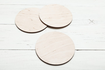 Round beer coaster blank for design, empty pad, plate.