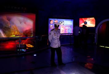 Navy sailor visits a natural history museum in Pyongyang