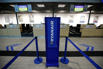 Departure gate of Weeze Airport near the German-Dutch border is seen empty during a strike of Ryanair airline crews