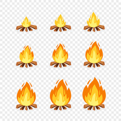 Set of camp fire sprites for animation. Vector cartoon illustration bonfire burning frames. Explosion, torch, flames, campfire for game design on transparent background