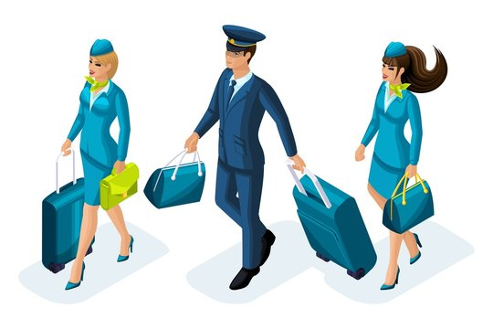 Isometric group of employees of international airlines, flight attendants, pilot, captain of an aircraft. Plane for travel