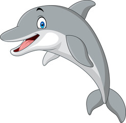 Cartoon funny dolphin