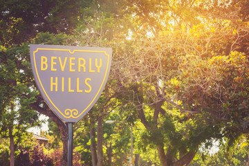 Beverly Hills sign in a sunset light