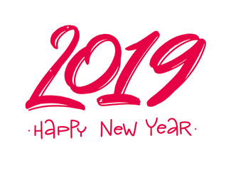 Happy New Year. 2019. Hand drawn vector lettering. Vector illustration. Modern brush calligraphy.
