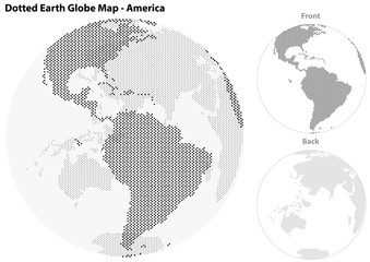 Dotted Earth Globe with Central View of America - Illustration with Earth Globe and Front and Back Continents, Vector