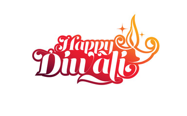 Happy Diwali Festival Text Illustration Template in Black with Creative Lamp