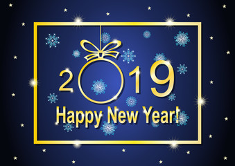 Golden lettering and frame with happy new year 2019 on blue background