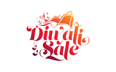 Creative Diwali Festival Sale Text Typography Background Template Vector Illustration