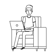 young man on the sofa with laptop