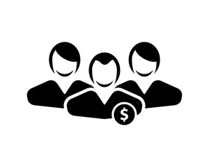 dollar person avatar figure silhouette profile image vector icon logo