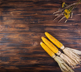 Grilled corn cobs on wooden background. Top view.