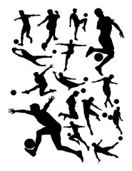 Soccer player detail silhouette. Good use for symbol, logo, web icon, mascot, sign, or any design you want.
