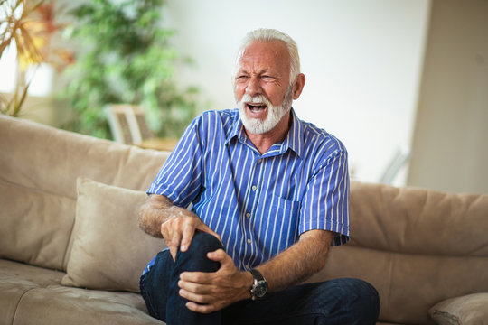 Senior man with chronic knee problems and pain