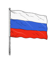 Russian flag drawing - vintage like colour illustration of flag of Russia. Banner on white background.