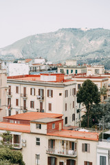 Beautiful streets and courtyards of Naples, historical sites and sculptures of the city. The monuments and architecture of ancient Italy. panorama of the city, species and tourist places