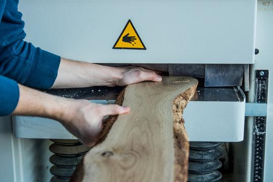 unsafe working with wood machine