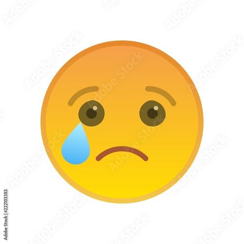 Crying emoticon isolated on white background  Melancholy