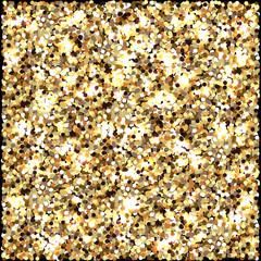 Gold glitter. Celebratory background. Round elements gold shades. Glow effect. New Year, Christmas, wedding, birthday