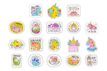 Wall Mural - Lovely unicorn patches set, trendy colorful unicorn stickers in different actions vector Illustrations on a white background