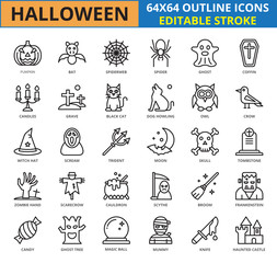 Halloween Outline icon set