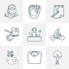 Entertainment icons line style set with baseball glove, djing, painting and other catchers mitt