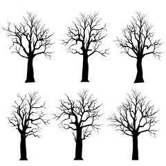 Vector Set Silhouettes dead trees set.