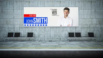 blank horizontal political marketing billboard advertising on underground station