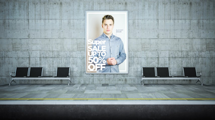 advertising fashion billboard mockup on underground station