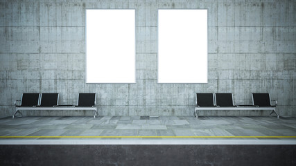 two blank billboard posters on underground station mockup