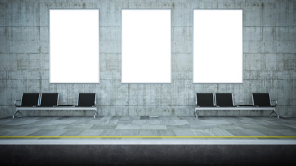 mockup of three blank posters on underground station