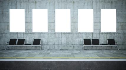 five blank billboards on underground station