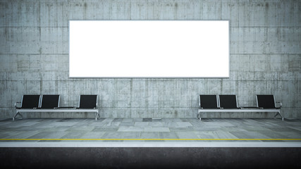 blank horizontal billboard advertising on underground station