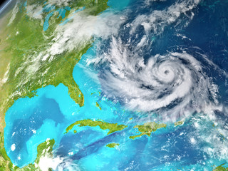 Hurricane in Atlantic from space