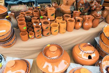 Slovenian traditional colored pottery sold at handicraft market in Ribnica town. Slovenia