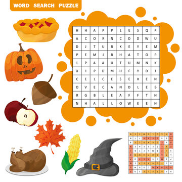 Learn English with an autumn word search game for kids. Vector illustration. Halloween and Thanksgiving theme