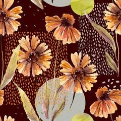 Poster de jardin Empreintes Graphiques Watercolor flowers and leaves, circle, square shapes, minimal doodle textures