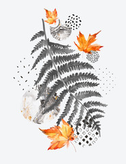 Poster de jardin Empreintes Graphiques Modern composition of watercolor floral elements and geometric shapes.