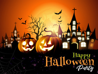 Halloween pumpkins background night horror.-vector illustration