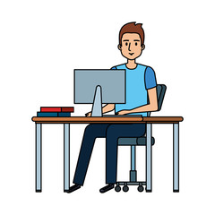 young man at desk with computer