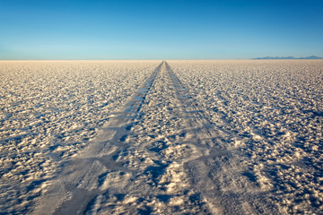 Car tracks in Salar de Uyuni (Uyuni salt flats), Potosi, Bolivia, South America