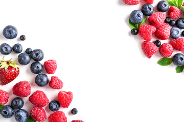 Delicious ripe berries on white background, top view Fototapete