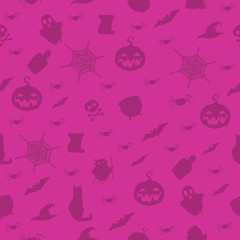 Halloween seamless pattern with halloween items on pink background