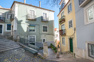 Alfama streets in Lisbon, Portugal