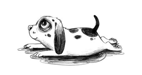 Niedlicher Welpe macht Platz mit Hundeblick